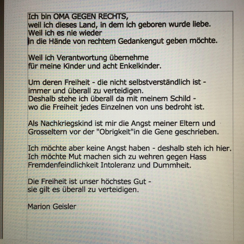 Statement Marion Geisler